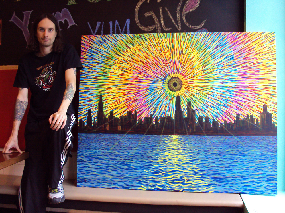 Me and my largest painting, Land of the Black Sun